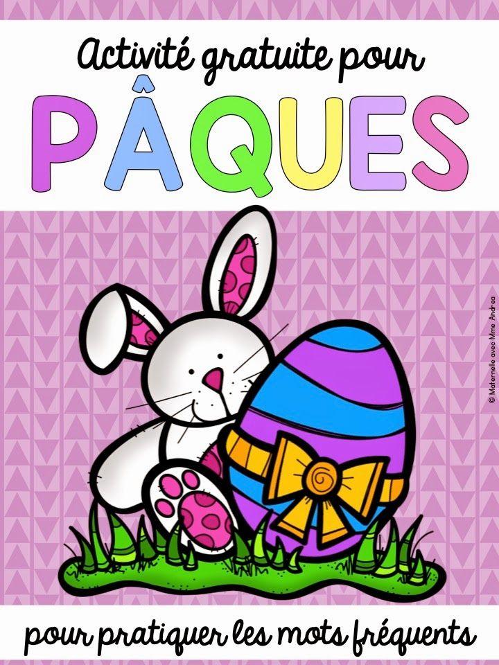 Activité gratuite pour Pâques - découpez les lettres des mots fréquents inclus, mettez-les dans un oeuf en plastique et cachez les oeufs autour de la salle de classe. Les élèves doivent trouver les oeufs et remettre les mots ensemble.