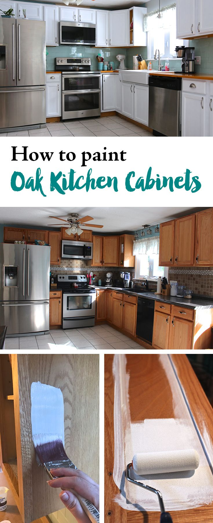 The time has come! It's time to paint some cabinets. Today I am going to  walk your through step by step how I painted my oak cabinets with DecoArt  Satin Enamel paint. Now if you haven't been following along on my kitchen  renovation make sure to to check out all the projects here. Including  c