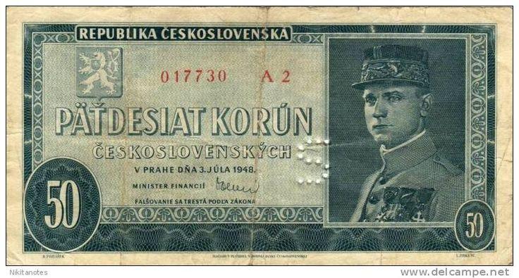 Ceskoslovenska note 50 Korun 1948 specimen perforated