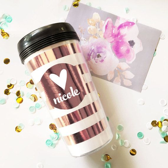 Personalized Travel Mugs make great gifts for women - perfect for a birthday gift for a friend, mom, sister, etc. Custom Travel Mugs have a heart or monogram on each cup. Monogram mugs are made of acrylic and you can choose to have a polka dot or stripes pattern. Also choose a from 3 different foil colors to personalized your travel mug gifts.   ***Details***  1 Acrylic Plastic Coffee Tumbler - Personalized with Metallic Foil Print.  Choose either Heart or Monogram Style.  Choose Foil Color…