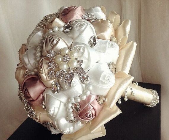 10 Off Made To Order Ivory Mauve White Satin Ribbon Roses Pearl Brooches Bridal Bouquet