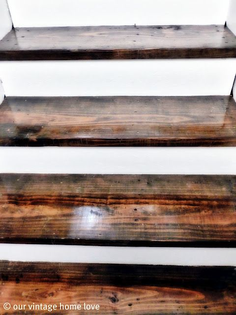 stained and painted stairs via our vintage home love ... <3 this!