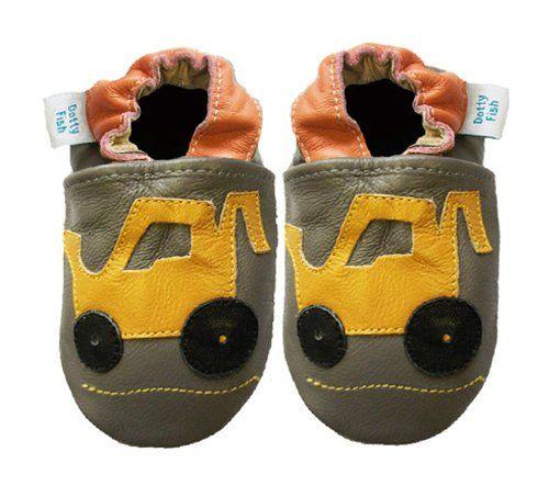 Acogedoras y suaves zapatos de cuero para bebé niño con suela de gamuza Dotty Fish Diseño De Excavadora – 0-6 Meses – Gris Khaki