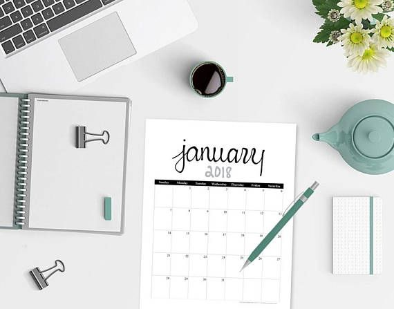 Keep your organizing simple with this elegant, hand lettered 2018 calendar printable!  This 12-month portrait calendar set, includes a separate printable calendar pages for January 2018 through December 2018. These printable calendars make the perfect gift for students, teachers, parents. Plus, they are great for those of you that are just interested in keeping your schedule more organized!  Each calendar page measures approximately 8.5 wide x 11 high when printed…