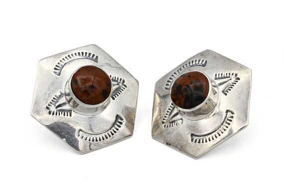 26c015bb2 Hexagon Mahogany Obsidian Earrings, Large Stamped Stud Earrings, 925  Sterling Silver, Taxco Mexico RCS Jewelry, Big Natural Stone Earrings