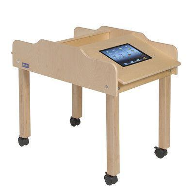 """Steffy 35"""" x 19"""" Novelty Activity Table Tablet Type: Samsung Galaxy Tab 10.1, Height: 22"""", Casters: Yes"""