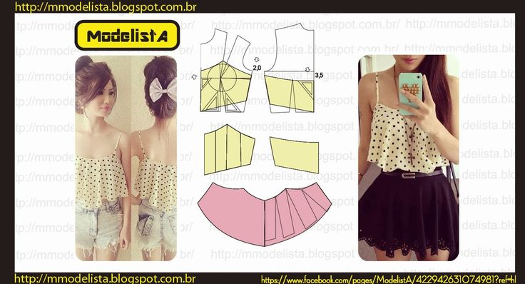 Modeler: CROPPED TOP from: http://mmodelista.blogspot.co.uk/2014/01/top-cropped-repostando.html, website is is Portuguese. (Pattern making / drafting cropped top).