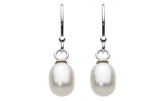 Sterling Silver Bridal Oval Pearl Drop by SilverButtercups on Etsy