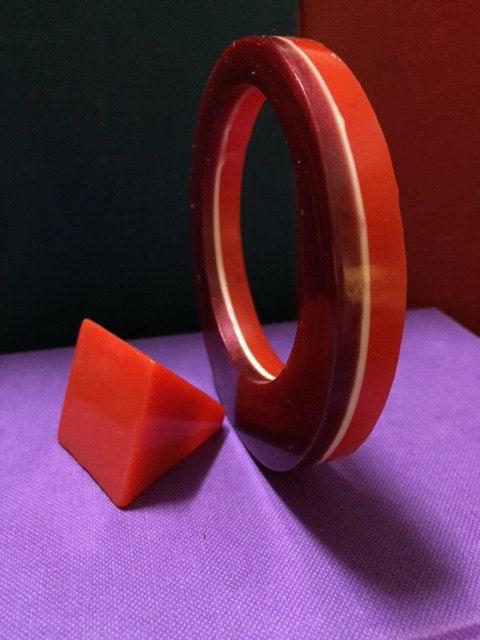 Large statement resin square ring - hand tinted orange by TheFlightyFlamingo on Etsy