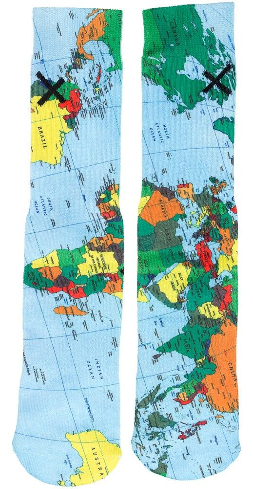 ODD SOX THE WORLD MAP SOCKS Not all those who wander are lost...and you won't be either with these World Map Socks from Odd Sox! These poly blend tube socks feature a ribbed elastic cuff, full graphic print, and ribbed heel for a tight and secure fit. $14.00 #oddsox #socks #map