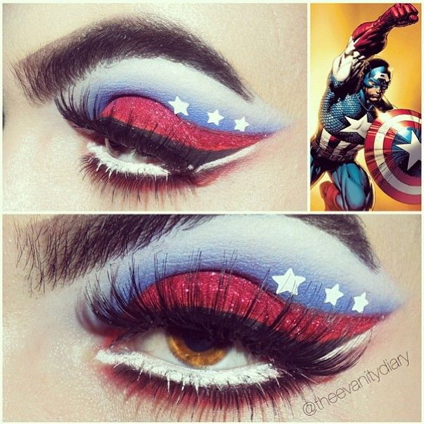 @Theevanitydiary created this awesome Captain America inspired look using #Sugarpill Love+ eyeshadow with #GlamourDollEyes glitter, Sugarpill Flutter eyelashes on top and #houseoflashes on bottom. Love it! #eotd #makeupart #captainamerica