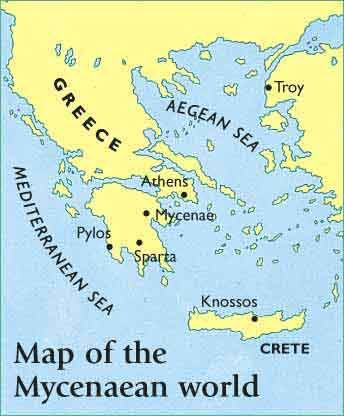 map of ancient greece mycenae greece map