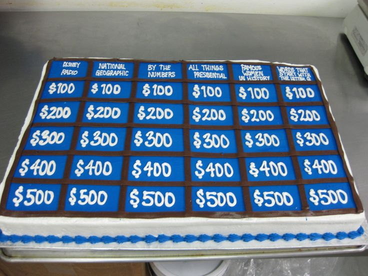 Jeopardy Cake Birthday Party Ideas Pinterest Cakes