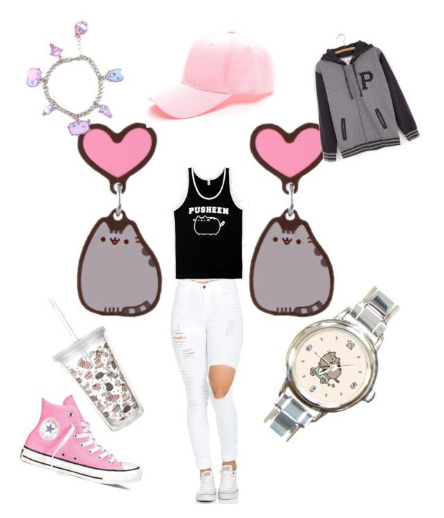 """#PVxPusheen"" by valealevelo on Polyvore featuring moda, Pusheen, Converse, contestentry e PVxPusheen"
