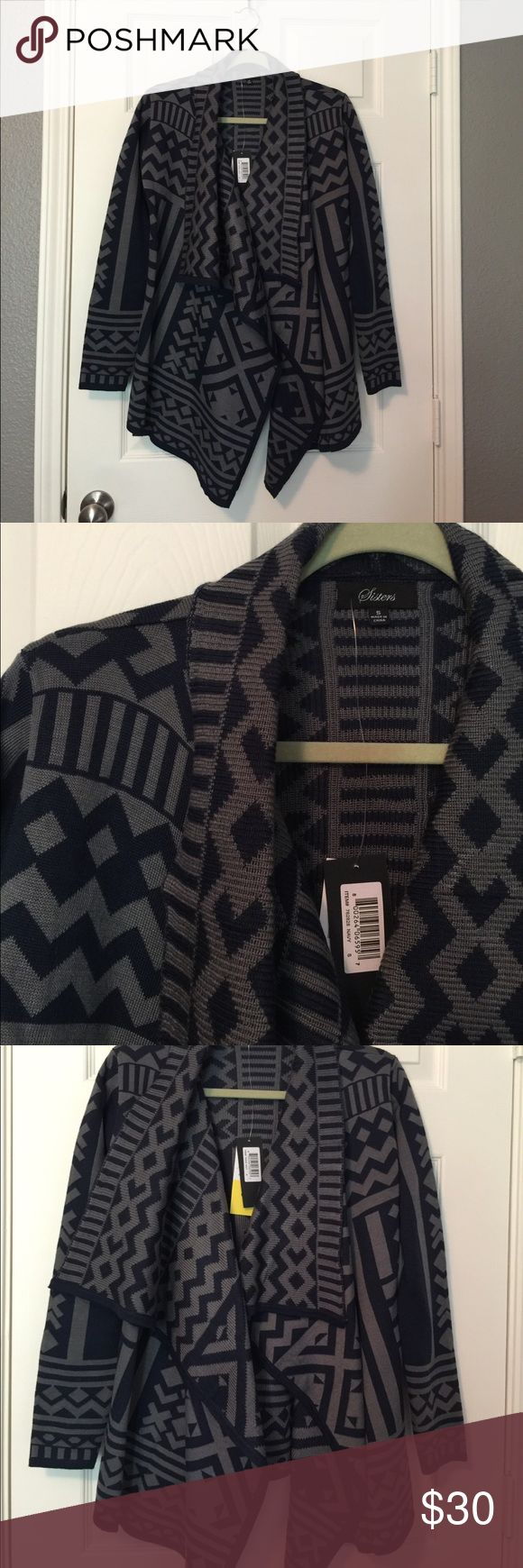Navy & Grey Aztec Sweater Cardigan Size S This is a brand new super cute Aztec print cardigan with a draped shall collar.  It is from Urban Outfitters but the tag says Sisters on it. From a smoke free home! Urban Outfitters Sweaters Cardigans