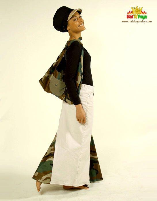 Army & Kaki Reversible Hobo bag Camo print fabric by HATaFAYA, $50.00