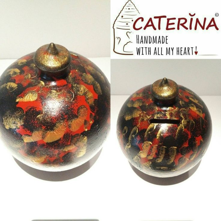 Piggy bank black gold red adult piggy bank pottery coin for Coin arredamento