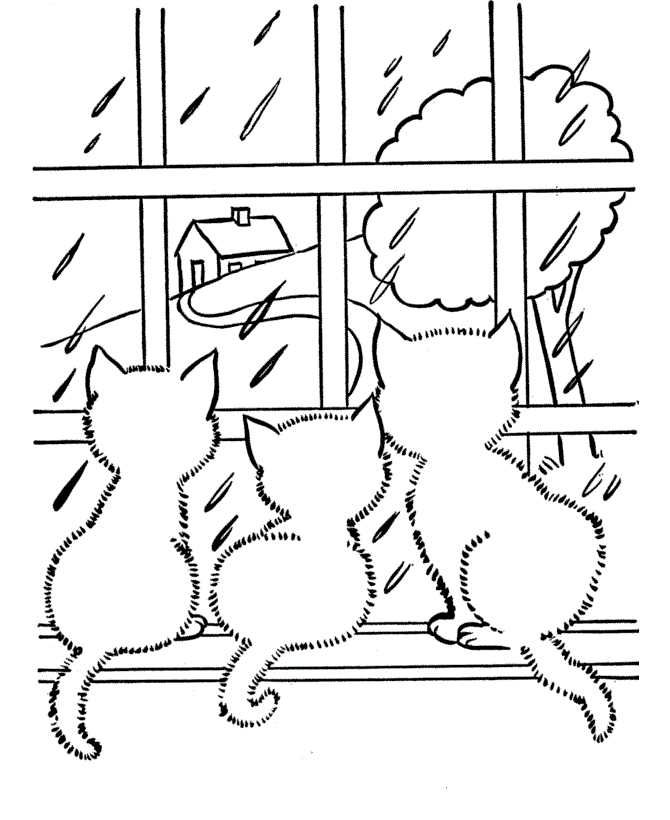 Rainy Day Coloring Pages Collection For Kids Cat Coloring Page