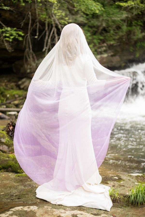 Bride with Lavender Ombre Veil | Tabitha Stover Photography on @artfullywed via @aislesociety