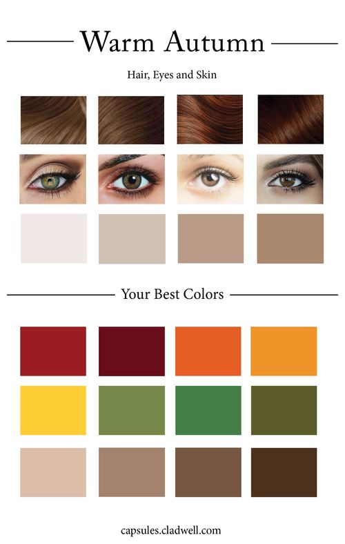 Hair ranges from medium to dark golden brown and can also be a warm red or auburn Green, hazel or light brown eyes Skin can be ivory, warm beige, bronze and brown. Skin and hair and eyes have an overall warmth