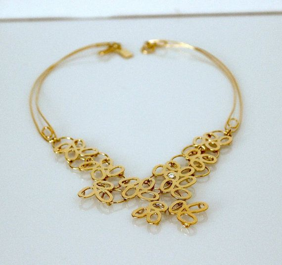 24kt Gold Plated Necklace - Floral - Zircon - Bridal Statment Necklace - Handmade - Bib Necklace - Fine Jewelry