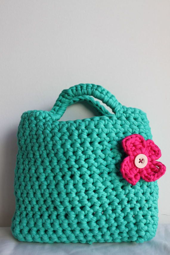 Green Turquoise crochet little girls purse by EndlessknotByAgnes