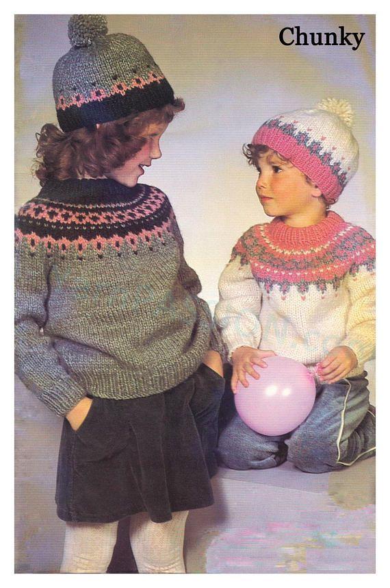 CHUNKY Fair Isle Shetland Nordic Sweater Sizes 2-12 /