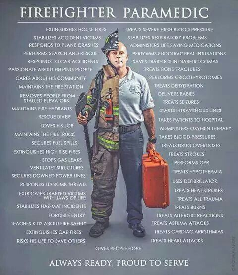 Paramedics  EMT's, and Firefighters risk their lives everyday, to save yours.