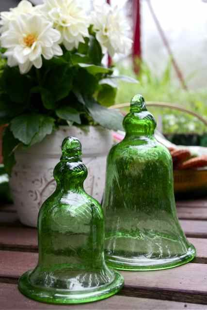 Love the green glass bells. So pretty!