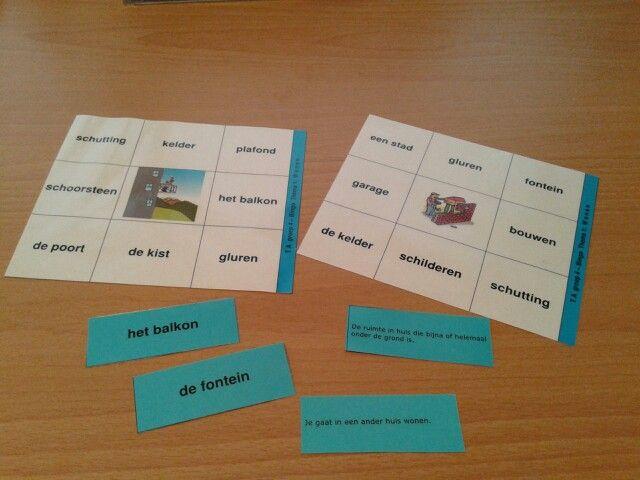 Een bingospel met de woorden uit het woordenschat programma van Taal Actief groep 4 thema 1 wonen. Te downloaden van digischool.