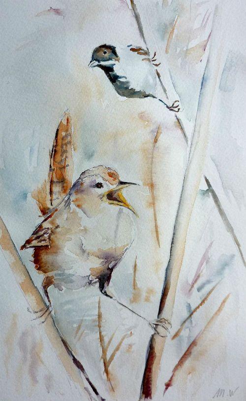 Dans les roseaux, oiseaux, bruants,                                                                                                                                                      Plus