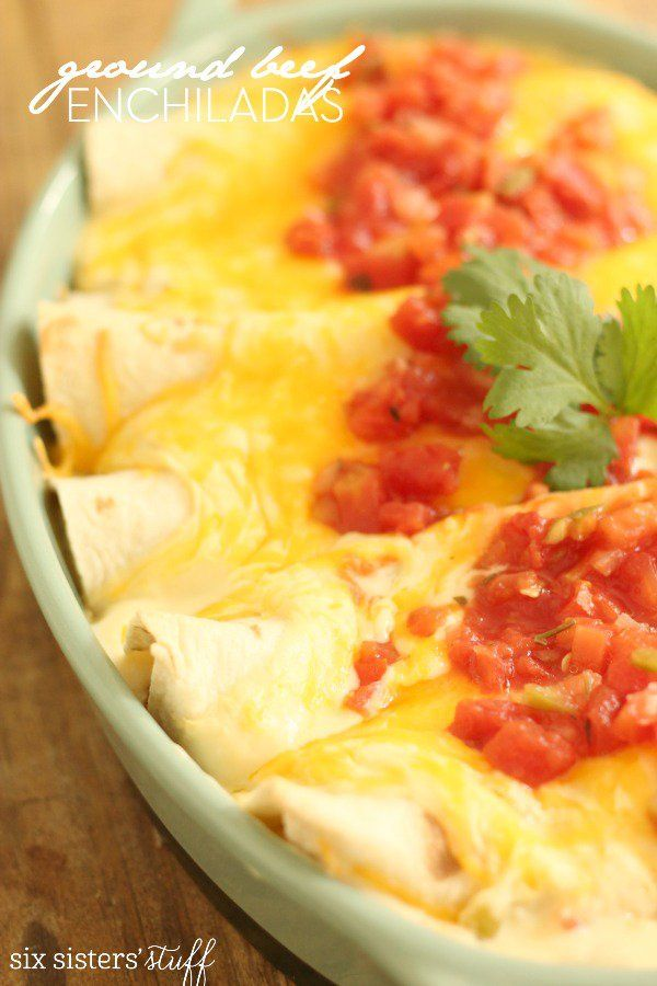 Ground Beef Enchiladas on Six Sisters' Stuff
