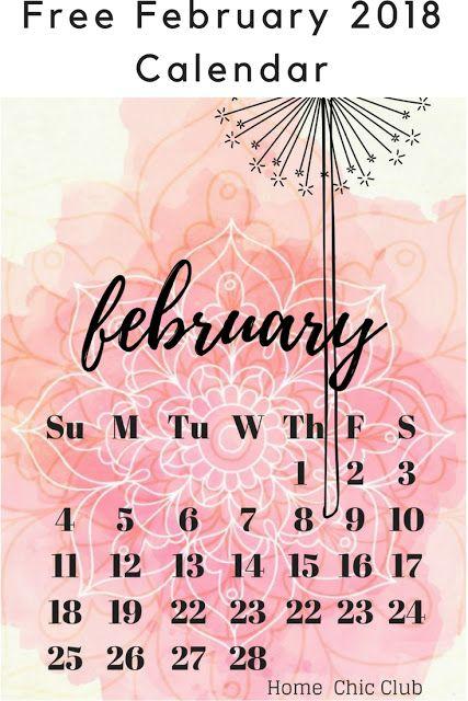 February 2018 Calendar Free printable.
