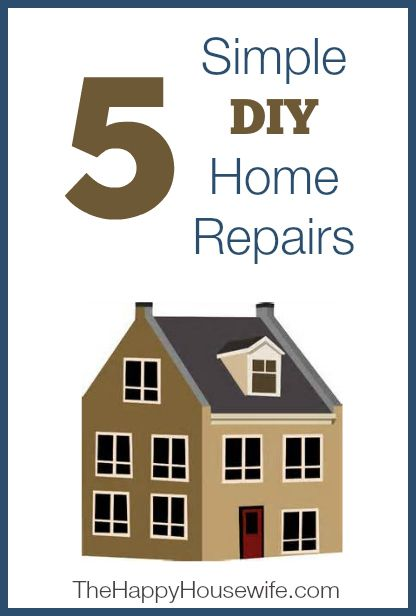 5 Simple DIY Home Repairs | The Happy Housewife1 Troubleshoot a Running Toilet; 2 Repair a Broken Garbage Disposal 3 Patch a Hole in Your Drywall 4 Replacing a Light Fixture. 5 Repair a Clogged Bathtub Drain -