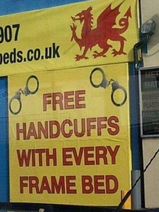 awwww yeee-ahh :P: Beds, Funny Signs, Free Handcuffs, Funny Stuff, Humor, Things, Funnysigns