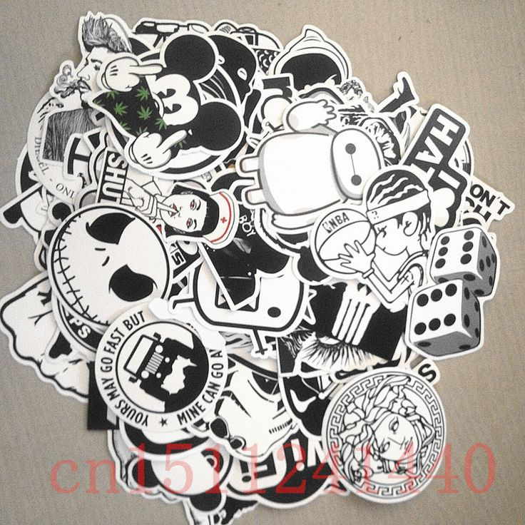 100pcs white and black random mixed hot sale home decor laptop sticker for motorcycle skateboard doodle