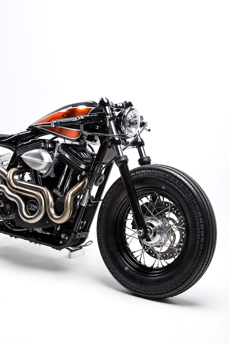 This custom Harley Sportster 48 from Australia's Kustom Kommune is a Kandy-Kolored Tangerine-Flake Streamline Baby.