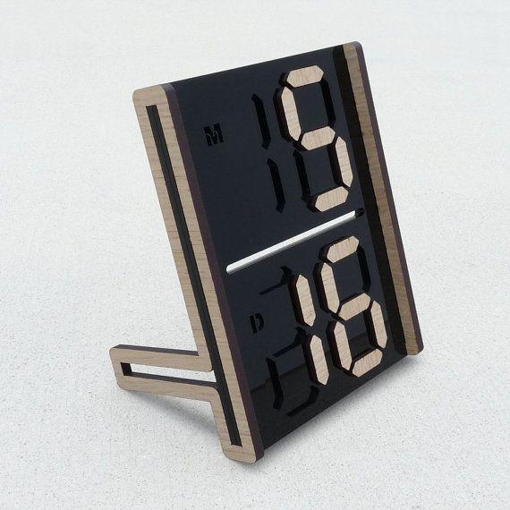 Digital going analog. Digits calendar  black acrylic & veneer MDF by useyourdigits.