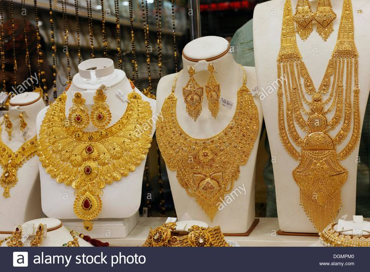Download this stock image: Lush gold necklaces, Indian style, based upon ancient models, Gold Souk, Deira, Dubai, United Arab Emirates, Middle East, Asia - dgmpm0 from Alamy's library of millions of high resolution stock photos, illustrations and vectors.
