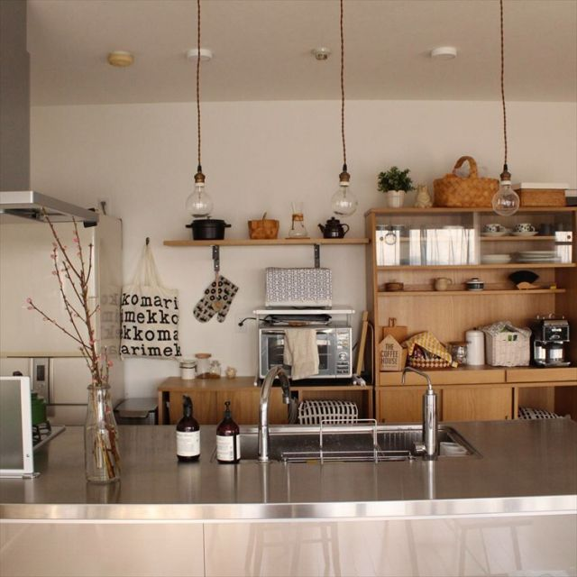 sisko_tomokaさんの、キッチン,観葉植物,食器,雑貨,カフェ風,北欧,unico,marimekko,北欧インテリア,ウニコ,アイランドキッチン,ステンレスキッチン,のお部屋写真