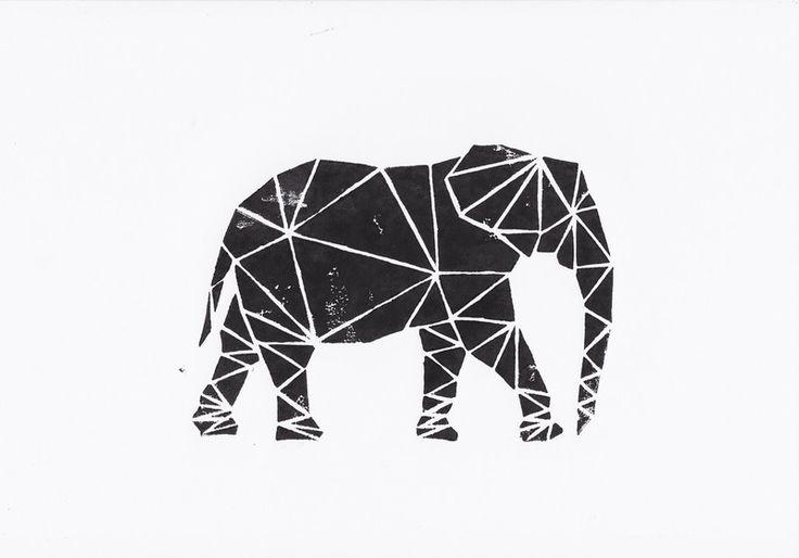 Linoldruck - Elefant - ein Designerstück von WeDoCutPrint bei DaWanda