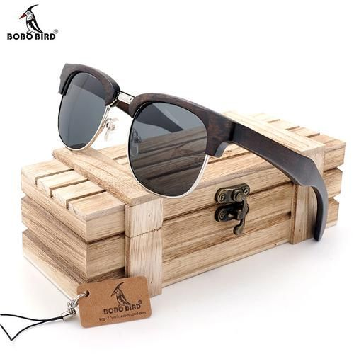 BOBO BIRD Vintage Club Semi-Rimless Wood Sunglasses Polarized Classic Mens Wood Sunglasses in Box