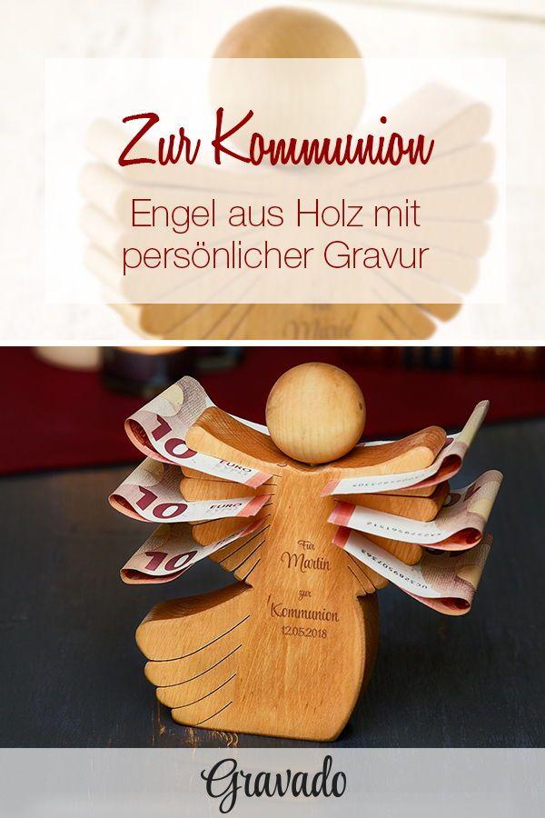 Engel aus Holz mit Gravur zur Kommunion – personalisiert