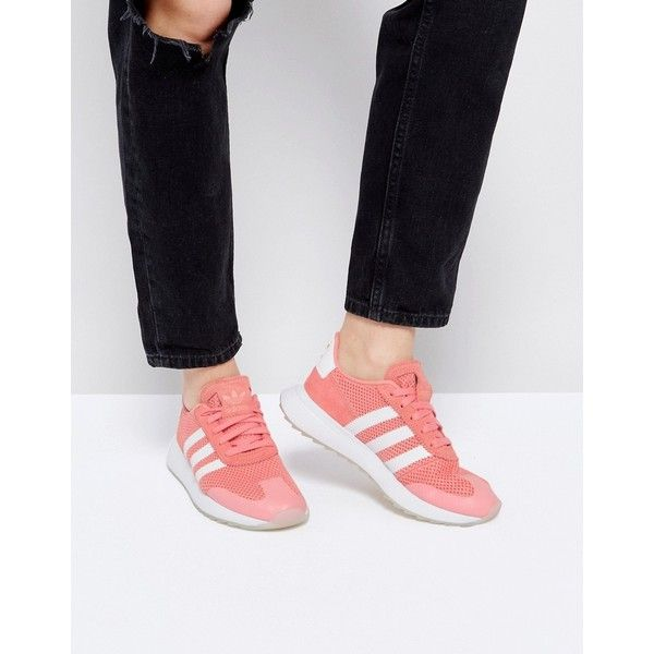 adidas Originals FLB Trainer In Coral (2,015 MXN) via Polyvore featuring shoes, sneakers, orange, lace up high top sneakers, lace up shoes, orange shoes, hi tops and orange high tops