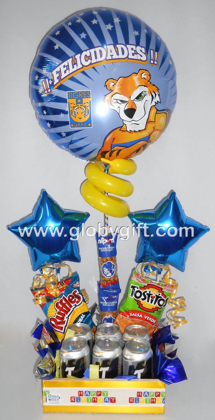 El regalo ideal para un Tigre de corazón, arreglo de globos de Tigres con cerveza y botana