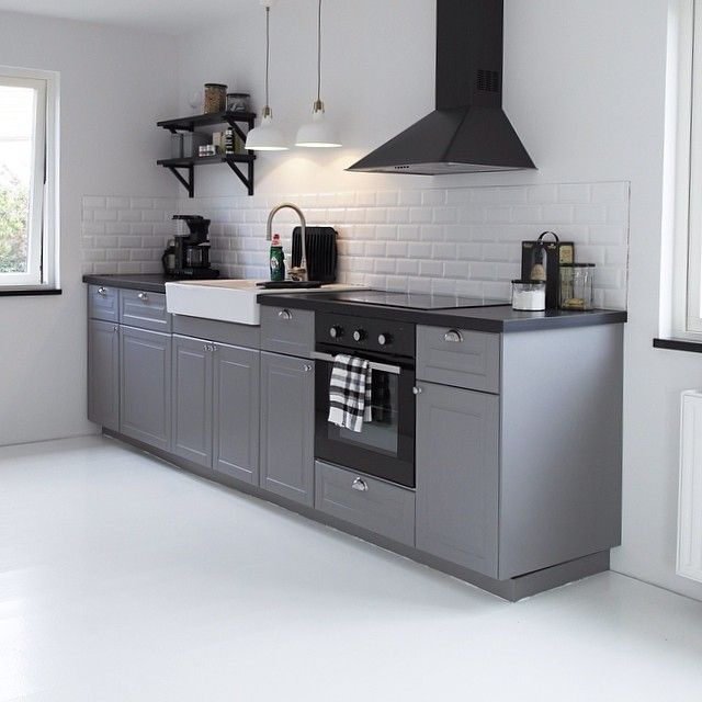 home_style_me's photo on Instagram  Bodbyn kitchen ikea grey