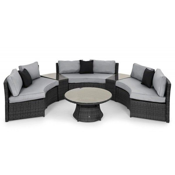 Amazing Saint Vincents Half Moon Sofa Grey Rattan Garden Set liked on Polyvore