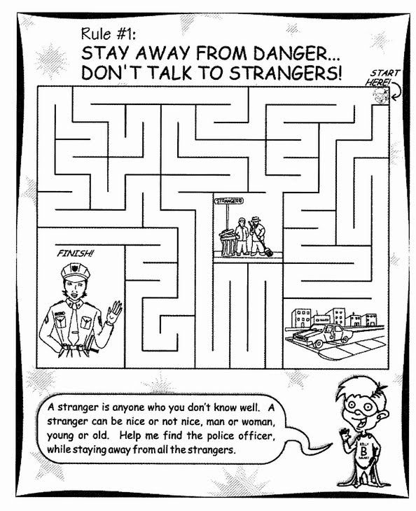 "Educate a child on who ""strangers"" are with this helpful maze."