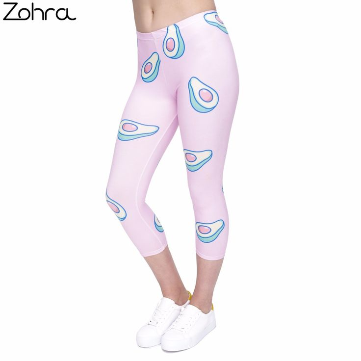 Zohra Women capri Leggings Avocado-Pink Printing Sexy Mid-Calf 3/4 Fitness Trousers Movement Leggins capri Pants //Price: $20.97 & FREE Shipping //     #hashtag4