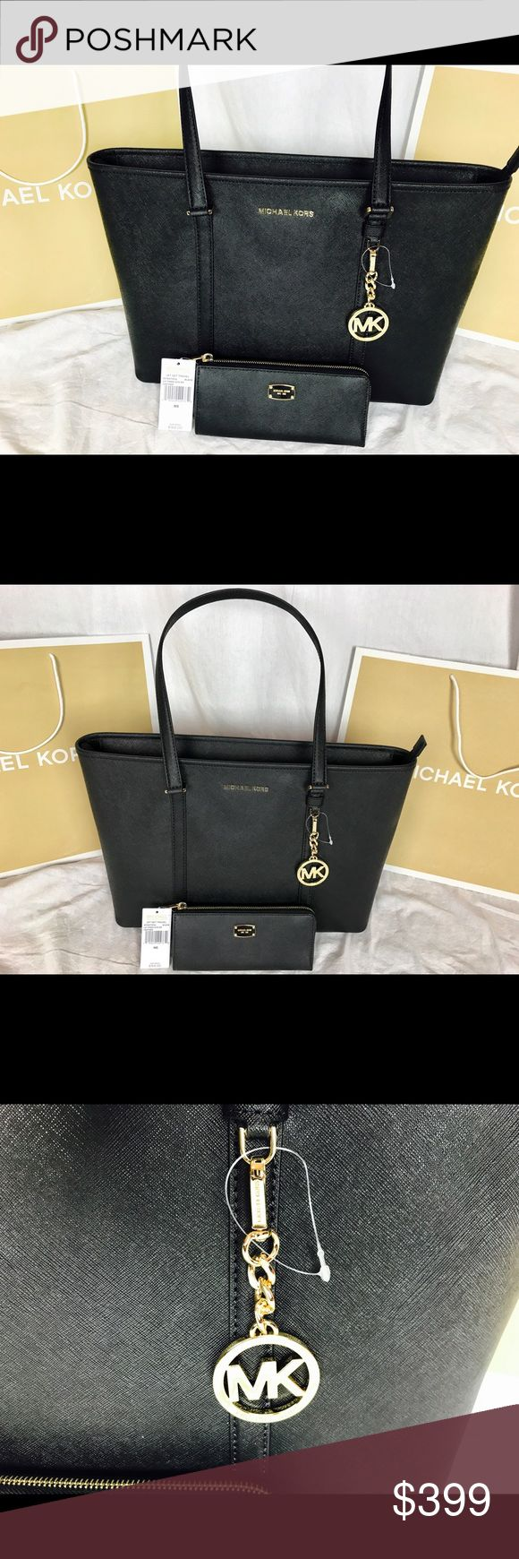 🔥MICHAEL KORS🔥Black w/gold Auth leather wallet 100% AUTHENTIC & BRAND NEW WITH TAGS! I ENCOURAGE YOU TO VERIFY AUTHENTICITY AT MICHAEL KORS IF ANY QUESTIONS! YOU'LL ENJOY THIS BEAUTIFULLY CRAFTED DESIGNER ZIP WALLET THAT WILL TURN EVERY HEAD AND HOLD UP AGAINST IN SUPERIOR QUALITY AND DURABILITY DURING YOUR DAY TO DAY TASKS FOR MANY YEARS!! 😊MSRP: $168 MICHAEL Michael Kors Bags Wallets